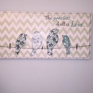 CANVAS FRAME Family of birds on a line